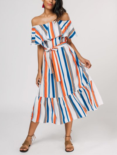 Flounce Striped Belted Dress - Stripe