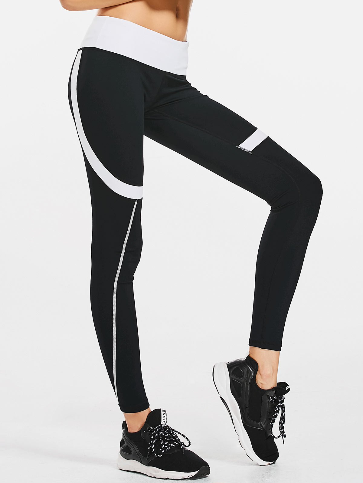 Stretchy Sporty Color Block Leggings 217519901