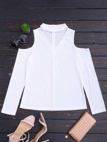Cold Shoulder Cut Out Ribbed Knitted Tee - White M