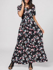 Round Collar Floral Print Maxi Dress - Floral L