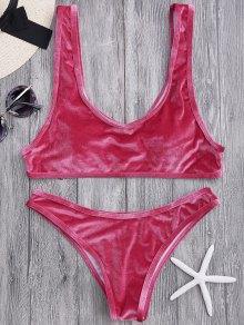 Velvet Bralette Scoop Bikini Set - Claret S