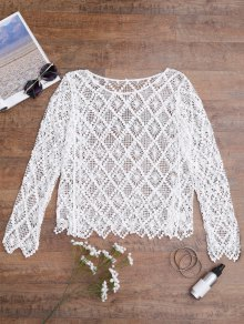 Hollow Out Cover Up Top - White