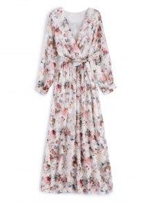 Flower Belted Maxi Surplice Dress - White L