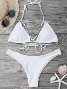 Halterneck High Cut Bikini Set With Beads - White S