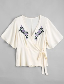 Floral Embroidered Ruffles Wrap Top - Off-white S