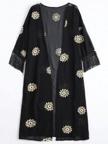 Floral Patched Fringed Longline Blouse - Black