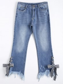 Distressed Lace Up Cutoffs Bootcut Jeans - Denim Blue S