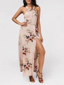 Maxi Vestido Sin Espalda Con Abertura Alta Con Estampado Floral - Caquiclaro L