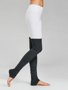 Color Block Ruched Overlength Sporty Leggings - Grey And White L