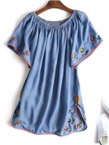 Slit Embroidered Off Shoulder Mini Dress - Denim Blue S
