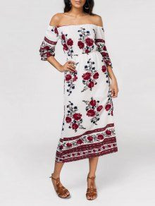 Slit Floral Print Off The Shoulder Dress - Floral M