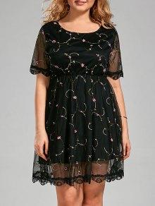 فستان نصف شير الحجم الكبير مطرز مع دانتيل التريم - أسود 4xl