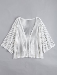 Open Front Semi Sheer Striped Blouse - White