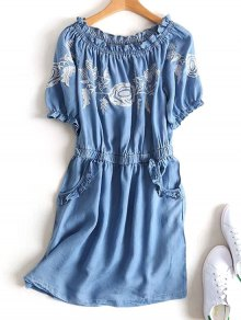 Off Shoulder Ruffles Embroidered Casual Dress - Denim Blue M