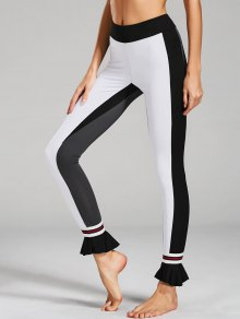 Ruffles Hem Color Block Active Leggings - White M