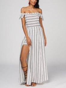 Off The Shoulder Slit Striped Maxi Dress - Stripe S