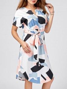 Split-neck Graphic Dolphin Dress - M