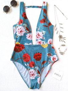 Back Plunging Neck High Cut Floral Swimwear - Light Blue M