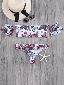 Floral Frilled Off The Shoulder Bikini Set - White S