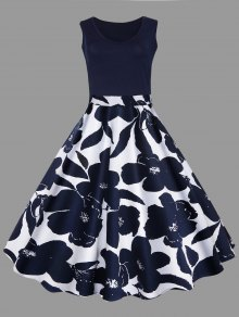 فستان الحجم الكبير طباعة الأزهار ميدي كلاسيكي - الأرجواني الأزرق Xl