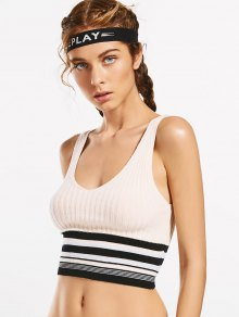 Knit Ribbed Low Cut Striped Sporty Top - Off-white M