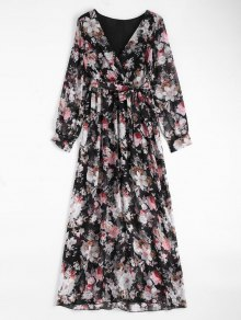 Floral Belted Maxi Surplice Dress - Black 2xl