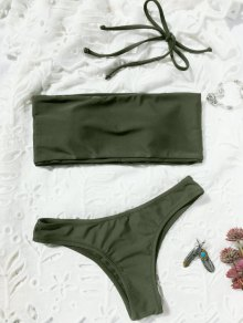 High Cut Bandeau Thong Bathing Suit - Army Green S
