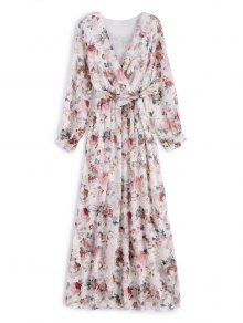 Flower Belted Maxi Surplice Dress - White 2xl