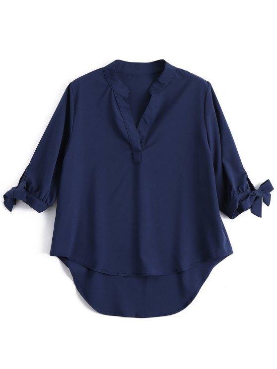 القوس التعادل الأكمام عالية قميص منخفض - الأرجواني الأزرق حجم واحد