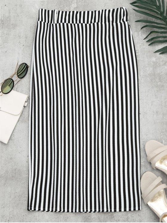 High Waist Slit Striped Skirt STRIPE: Skirts M