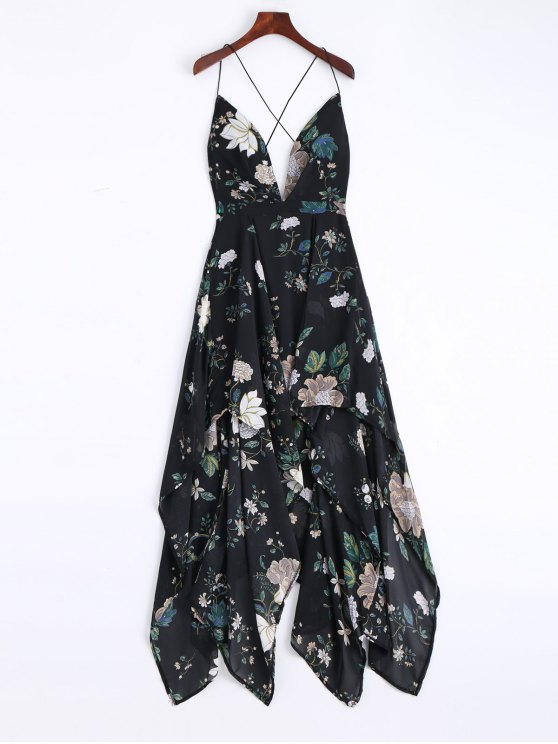 fashion Cami Cross Back Floral Maxi Handkerchief Dress - BLACK L