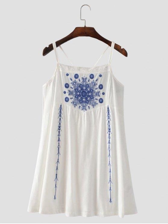 Vestido con Tirante Fino con Tira Cruzada con Bordado Floral - Blanco M
