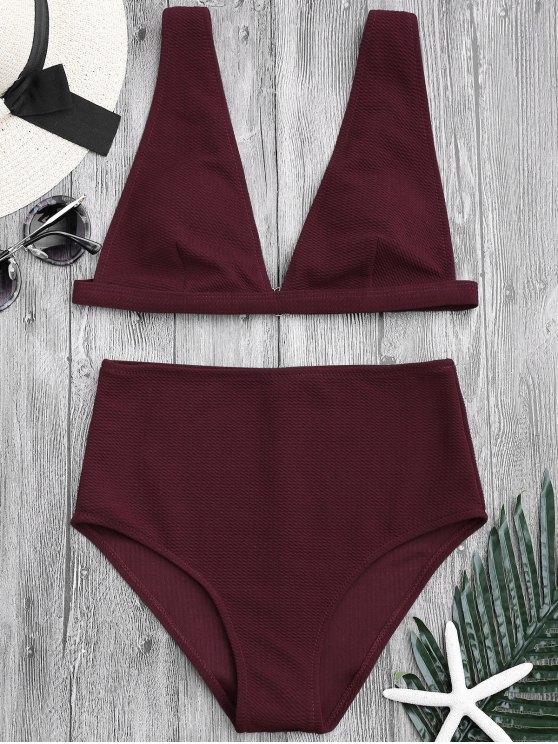 hot Textured Plunge High Waisted Bikini Set - BURGUNDY L