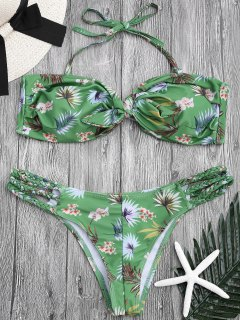 Printed Knotted Bandeau Bikini Set - Green S