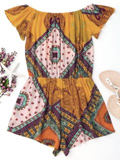 Printed Off Shoulder Cover Up Romper - Yellow S