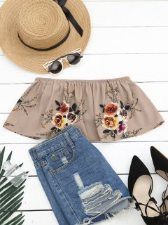 Smocked Ruffles Floral Cropped Tube Top - Khaki S
