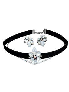 Flower Earring And Choker Necklace Set - Black