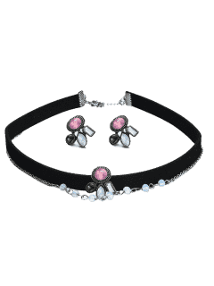 Faux Gemstone Choker Necklace And Earring Set - Black
