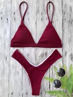 Plunge Padded Textured High Cut Bikini Set - Burgundy S