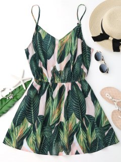 Tropical Leaf Print Cami Cover Up Dress - Green M