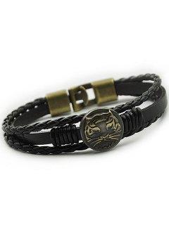 Bracelet à Faux Cuir Braid à Motif Tigré - Noir