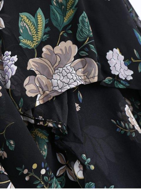 buy Cami Cross Back Floral Maxi Handkerchief Dress - BLACK S Mobile