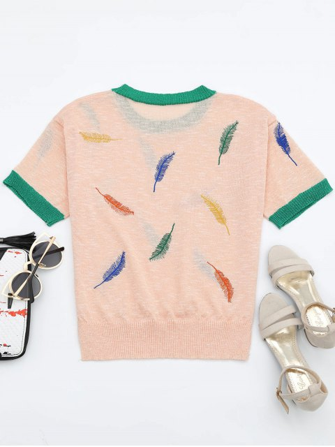 best Leaves Patchwork Short Sleeves Knitted Top - PINK ONE SIZE Mobile