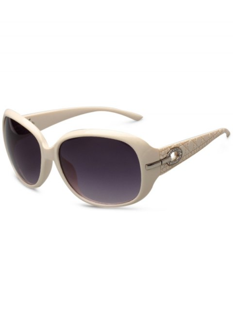 women Rhinestone Decoration UV Protection Sunglasses - OFF-WHITE  Mobile