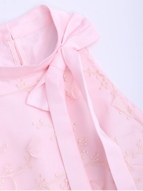 best Mesh Panel Bowknot Embellished Flare Dress - PINK XL Mobile