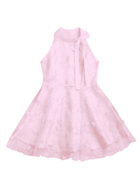 new Mesh Panel Bowknot Embellished Flare Dress - PINK L Mobile