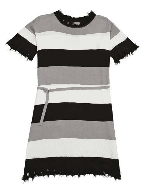 affordable Contrast Ripped Hem Belted Knitted Dress - BLACK ONE SIZE Mobile