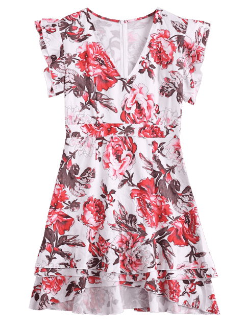 sale Ruffles Layered Floral A-Line Dress - FLORAL XL Mobile