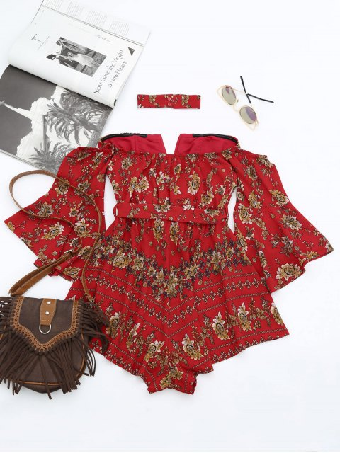 latest Floral Belted Choker Romper - RED S Mobile