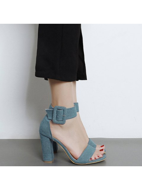 Denim Ankle Strap Block Heel Sandals - Bleu 40 Mobile